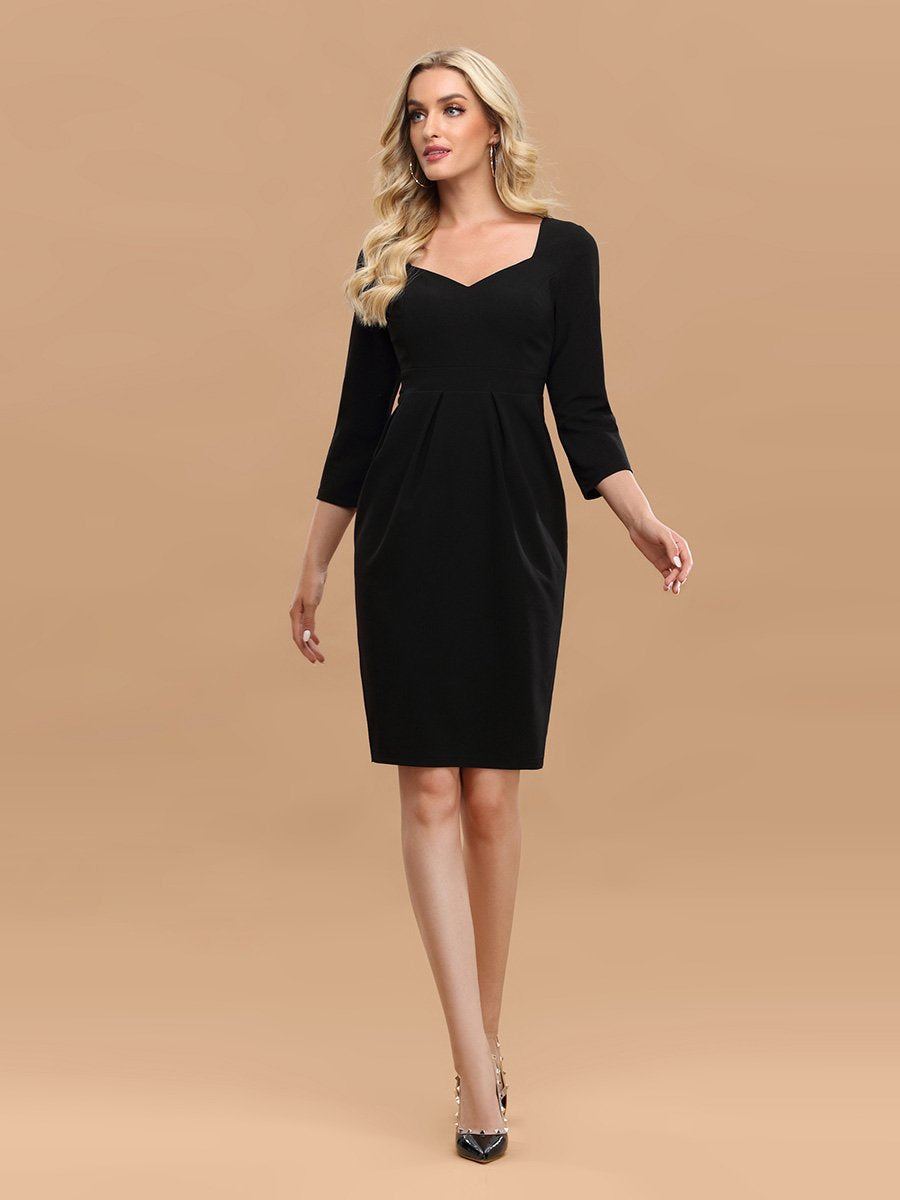 Color=Black | Simple High Waist Sheath Wholesale Work Dress With 3/4 Sleeves-Black 1