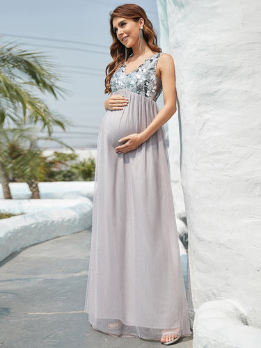 COLOR=Gray | Sultry Deep V-neck Dress for Pregnant Women-Gray 1