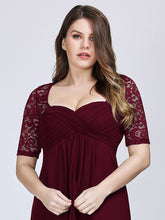 Load image into Gallery viewer, COLOR=Burgundy| Plus Size Floor Length Empire Waist Evening Dress-Burgundy5