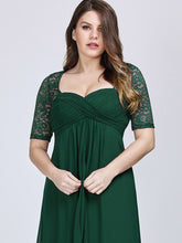 Load image into Gallery viewer, COLOR=Dark Green| Plus Size Floor Length Empire Waist Evening Dress-Dark Green5