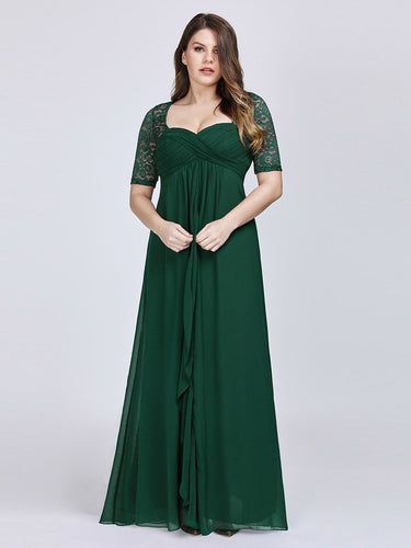 COLOR=Dark Green| Plus Size Floor Length Empire Waist Evening Dress-Dark Green1