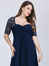 Load image into Gallery viewer, COLOR=Navy Blue | Plus Size Floor Length Empire Waist Evening Dress-Navy Blue 5