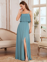 Load image into Gallery viewer, Simple Wholesale Side Split Chiffon Evening Dress with Spaghetti Straps EE00108