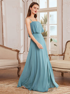 Simple Wholesale Side Split Chiffon Evening Dress with Spaghetti Straps EE00108