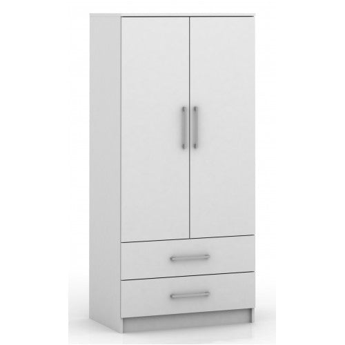 2 Door Wardrobe with Drawers - White