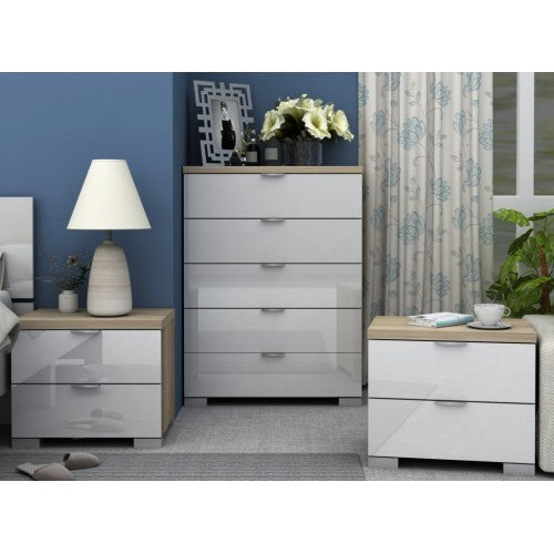 Alexis 4 Piece Bedroom Set - White/Oak