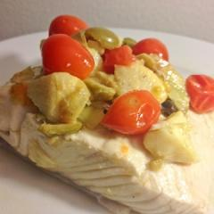 Olive Oil-Poached Halibut with Olives, Capers, and Artichokes