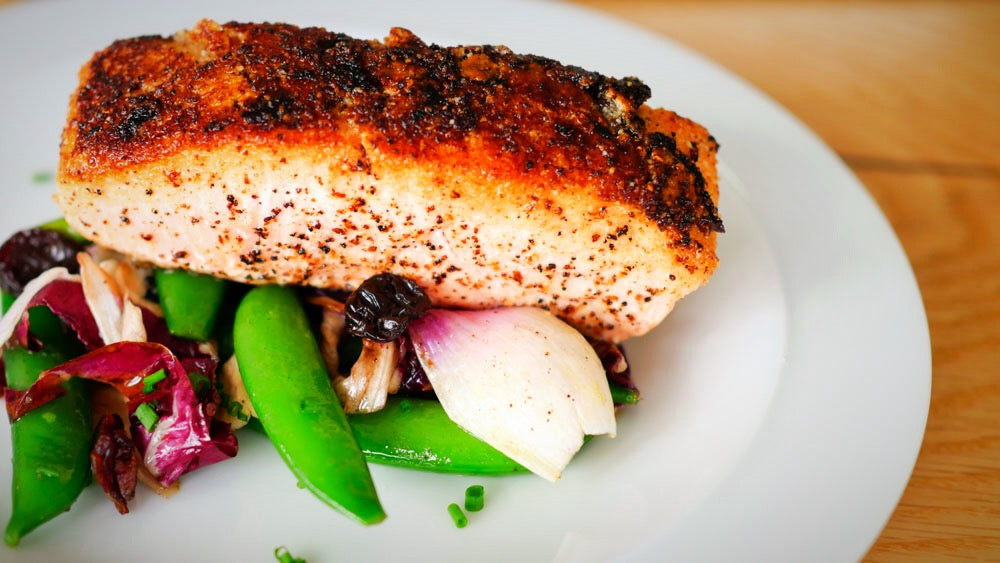 Almond Crusted Salmon with Sherry Cherry Sauce