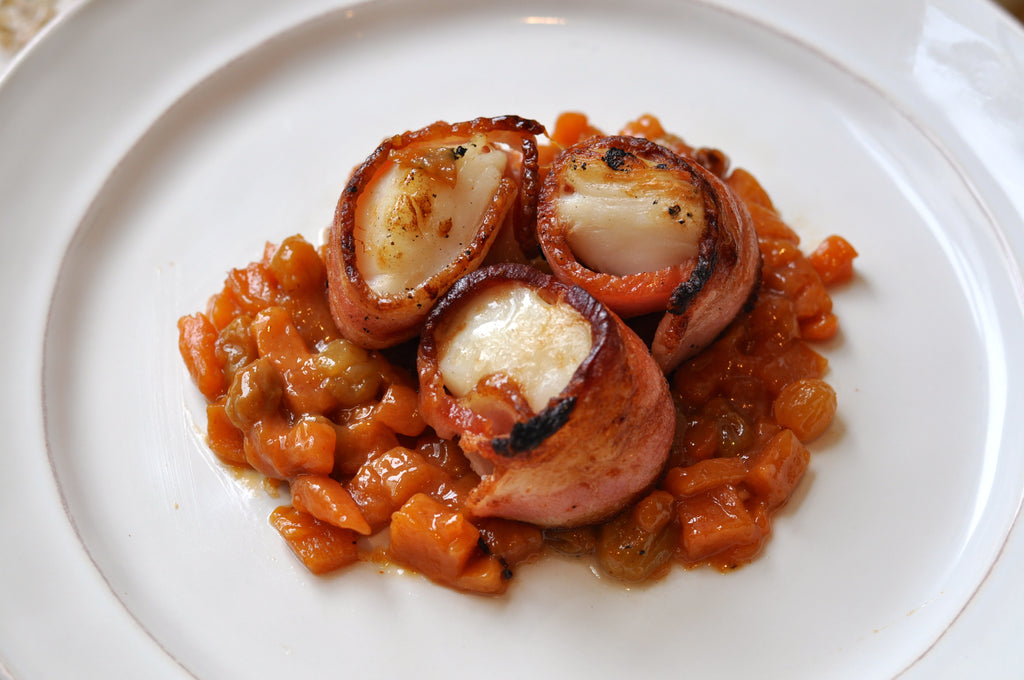 Bacon-Wrapped Scallops with Persimmon Chutney