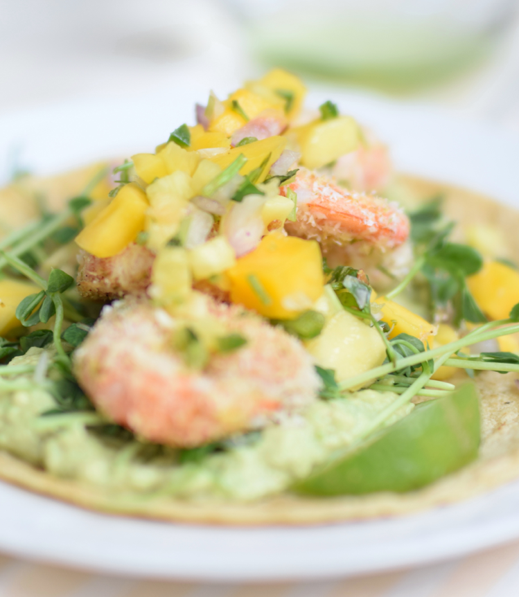 Coconut Shrimp Tacos with Pea Shoots, Guacamole, and Mango-Pineapple Salsa