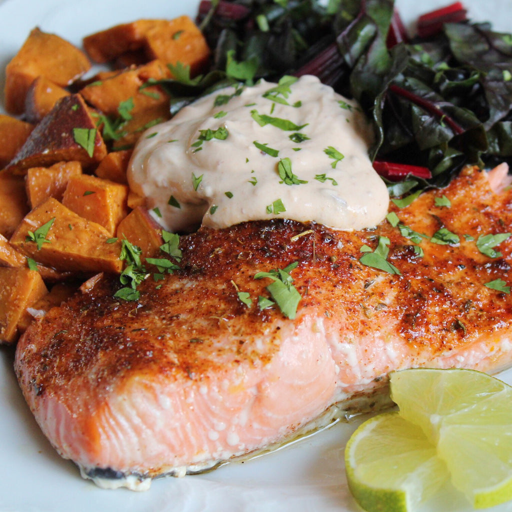 Cajun Seared Salmon with Chipotle Cashew Cream