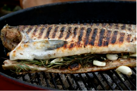 Whole Grilled Salmon with Forty Cloves of Garlic