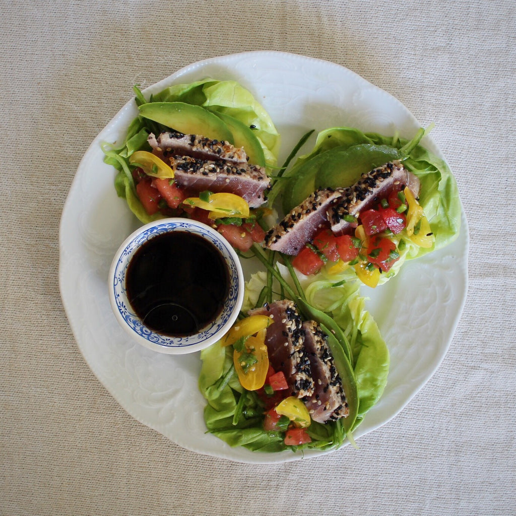 Seared Ahi Lettuce Cups with Watermelon Salsa and Avocado