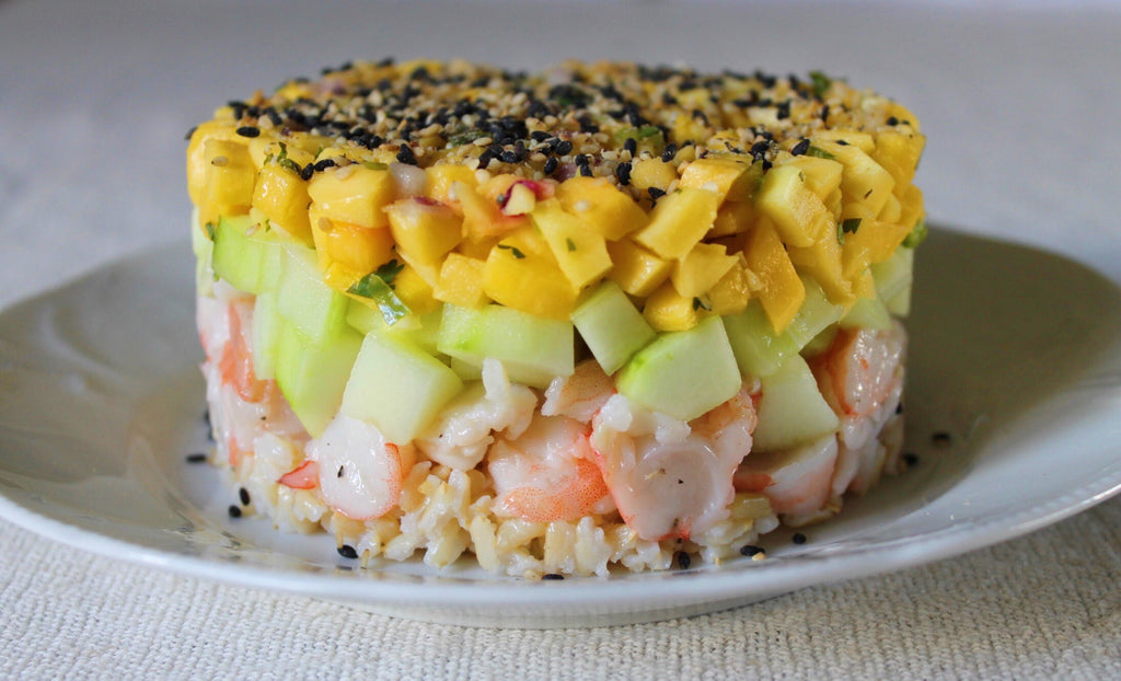 Mango Cucumber Shrimp Stack