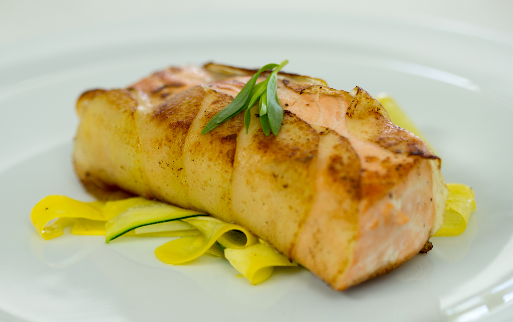 Salmon with Scalloped Potato