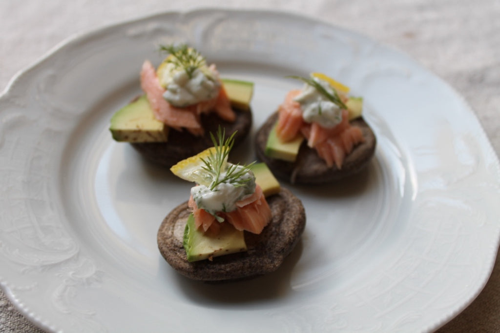 Smoked Salmon on Buckwheat Blini