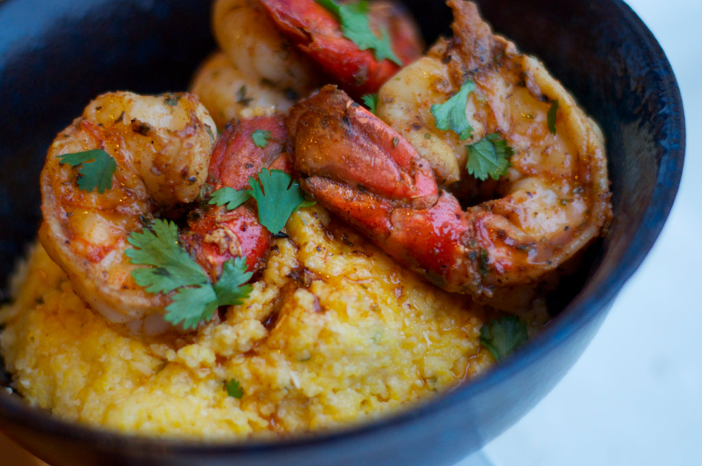 Spiced Jumbo Shrimp with Smoked Gouda Grits