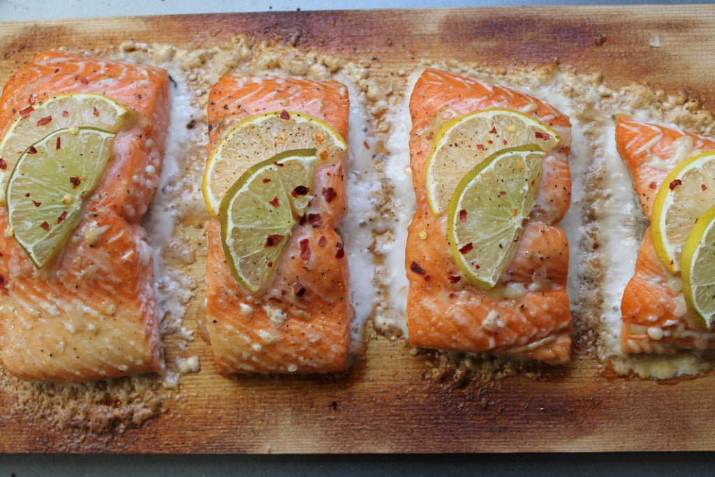 Teriyaki Cedar Plank Salmon with Citrus Salad and Sesame Ginger Dressing