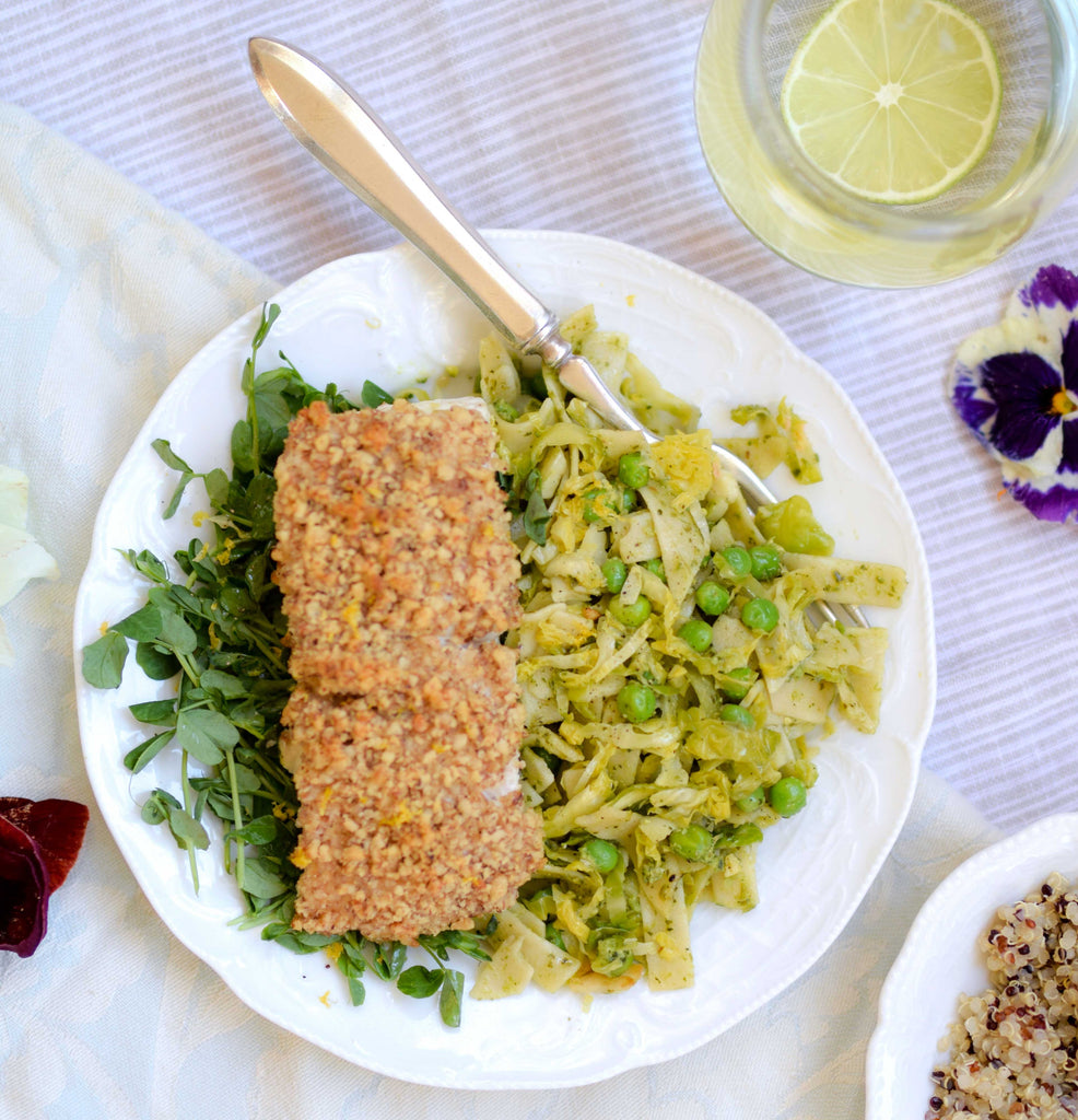 Walnut Crusted Halibut with Spring Fettuccine with Pesto and Brussels Sprouts