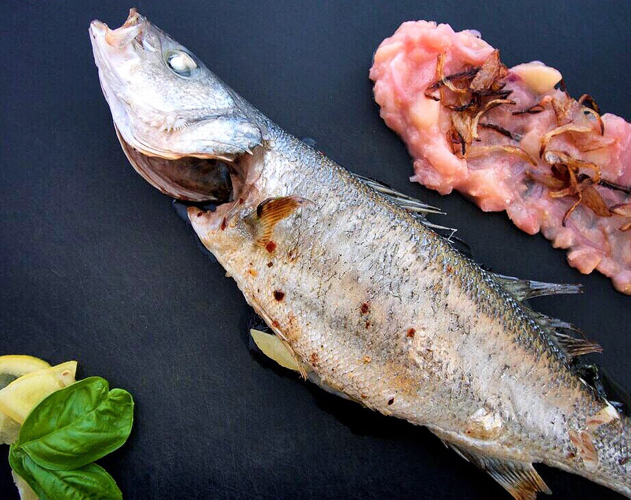 Whole Roasted Branzino with White Peach Relish