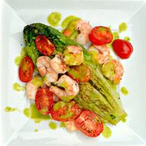 Grilled Romaine Hearts, Tomatoes And Shrimp With A Basil Vinaigrette