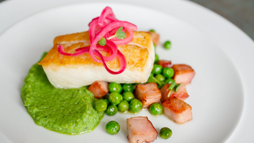 Pan Seared Halibut With Mint Pea Puree