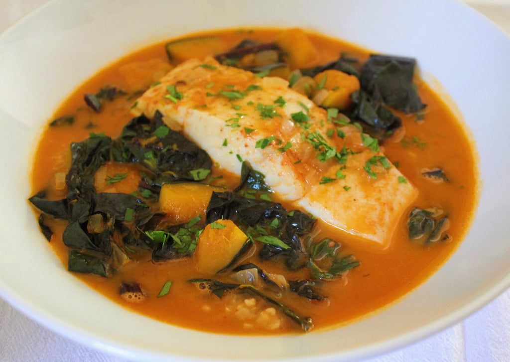 Poached Halibut and Kabocha Squash in Tomato Curry Broth