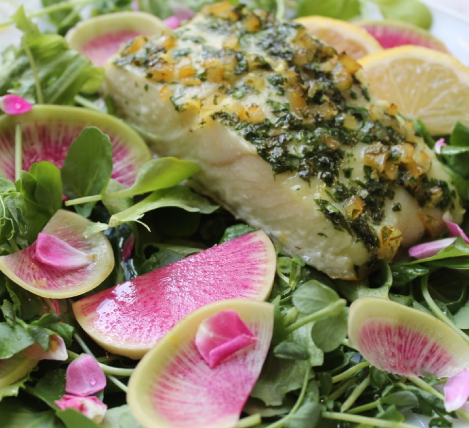 Lemony Halibut with Watercress Radish Salad