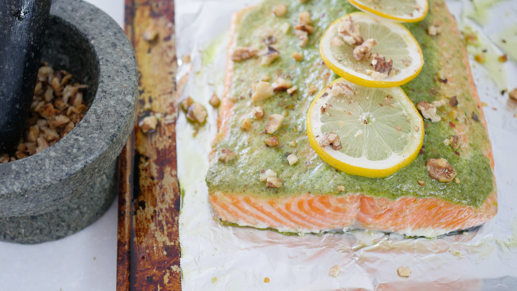 Roasted Pesto Salmon With Toasted Walnuts