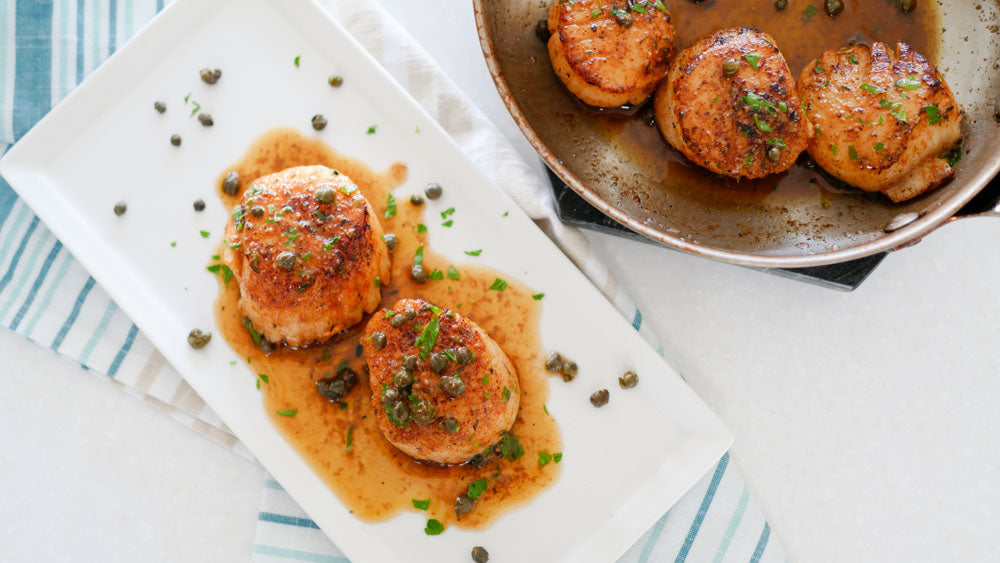 Scallops in Lemon Mustard Sauce with Fried Capers