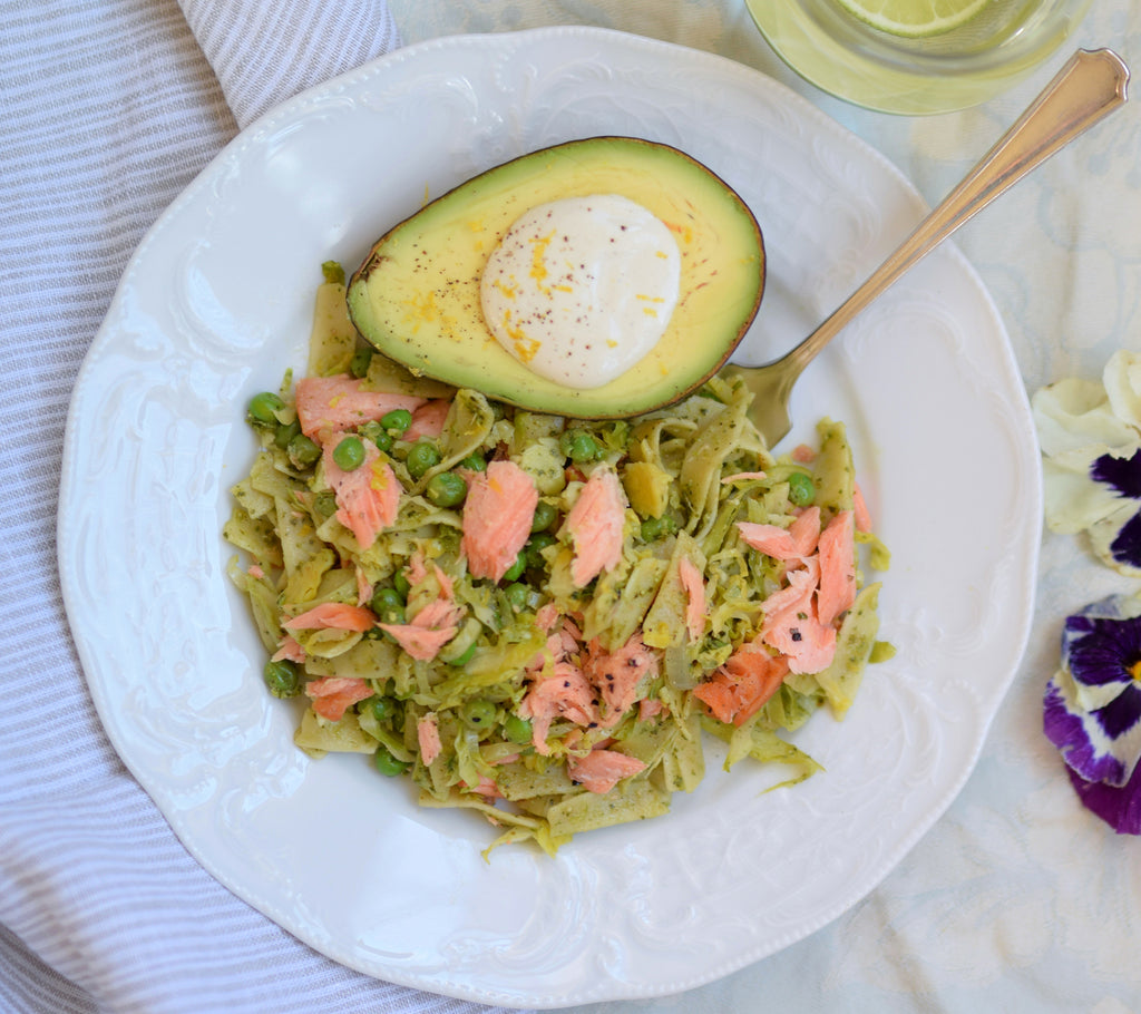 Smoked Salmon Fettuccine with Cashew Cream and Spring Veggies