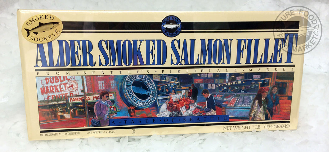 1 lb Alderwood Smoked Salmon in Fancy Gift Box (Large Cardboard)
