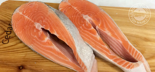 Fresh Northwest King Salmon Steaks