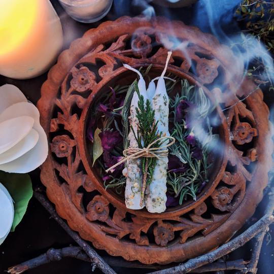 Herb Dressed Spell Candles - Energy Cleanse
