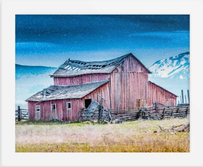 Framed poster - Mountain Barn (Montana Series) 8x10 only