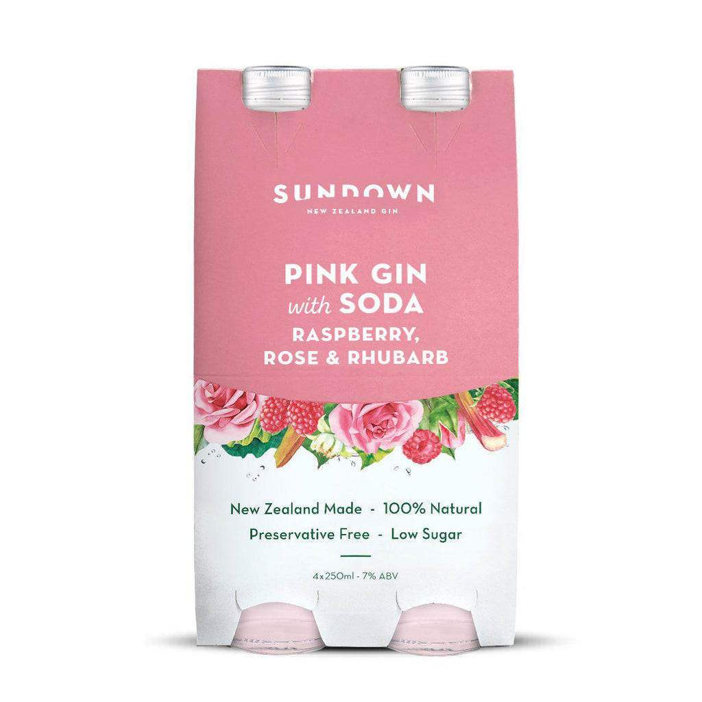 Sundown Pink Gin with Soda, Raspberry, Rose & Rhubarb