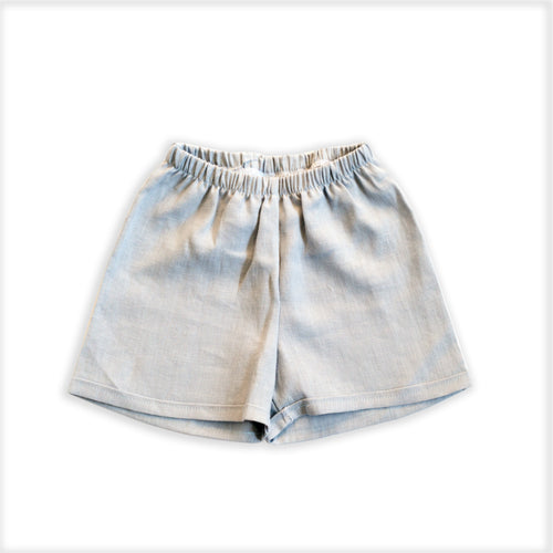 Linen Chino Shorties in Pebble