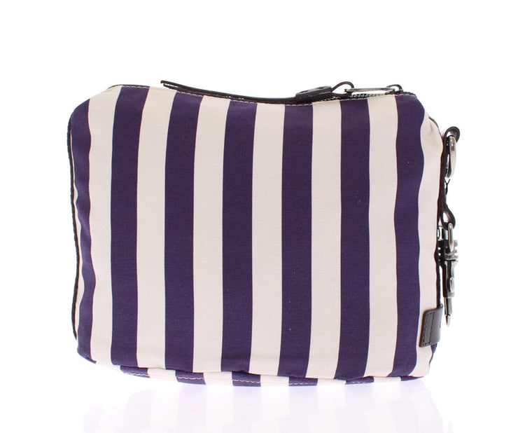 Purple striped canvas toiletry bag