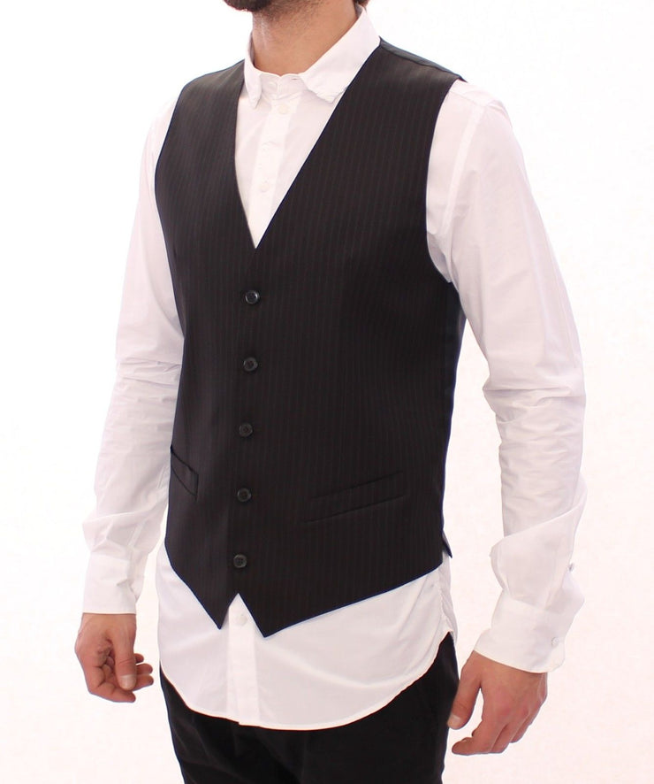 Black Striped Wool Single Breasted Vest