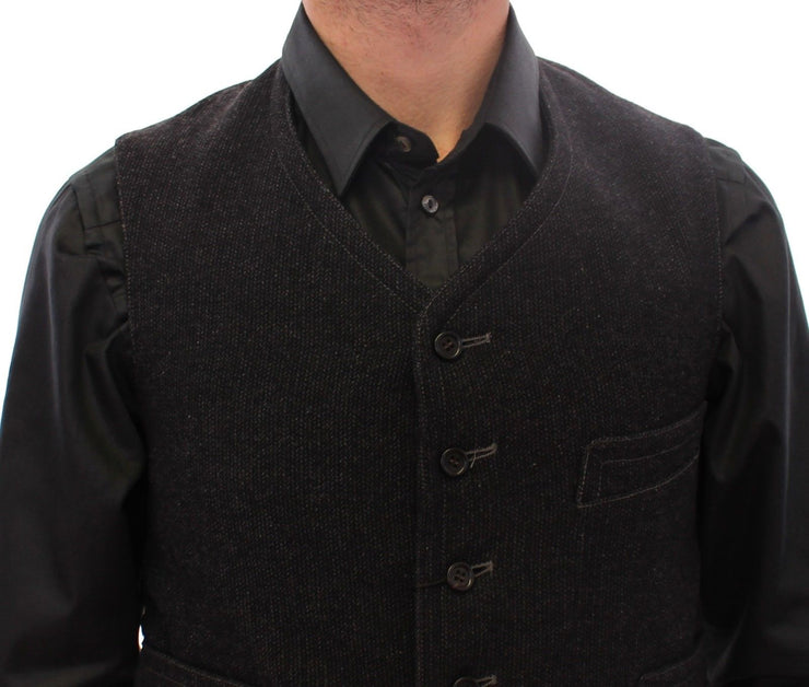 Black Wool Single Breasted Vest Gilet