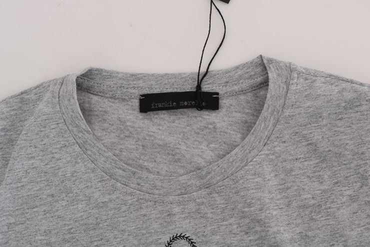 Gray Cotton RIDERS Crewneck T-Shirt