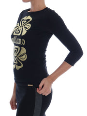 Black 3/4 Sleeve Cotton Stretch Top