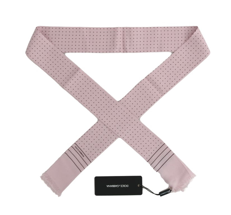 Pink Polka Dotted Silk Scarf
