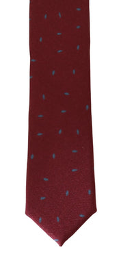 Red Silk Gray Pattern Slim Tie