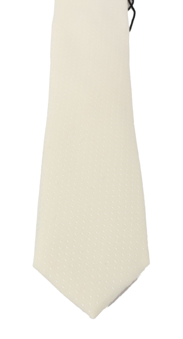 Ivory White Pattern Silk Classic Tie