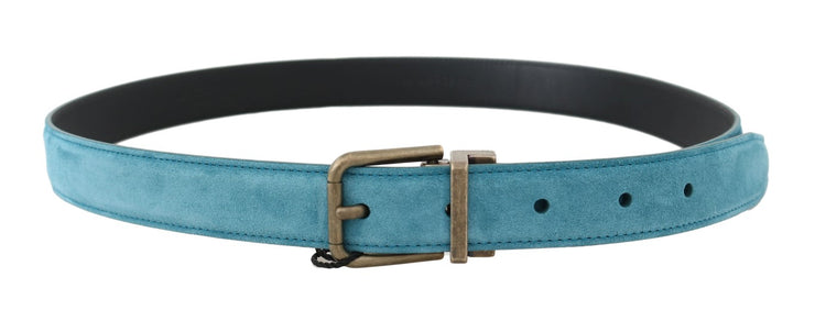 Blue Leather Gold Buckle Belt