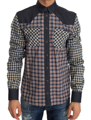 Blue Red Check Cotton Slim Fit Shirt