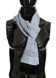 Blue Silk Polka Dot Scarf