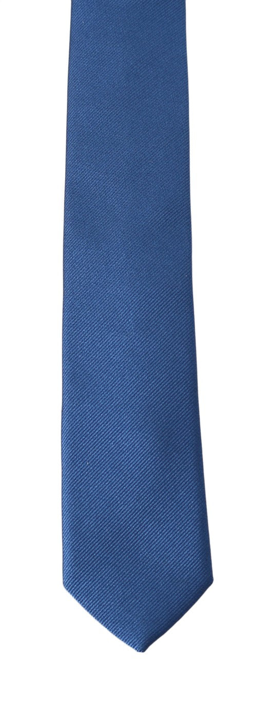 Blue Silk Striped Pattern Slim Tie