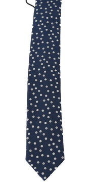 Blue Silk White Polka Dot Print Tie